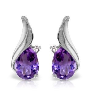 SOLID GOLD STUD EARRING WITH DIAMONDS & AMETHYSTS